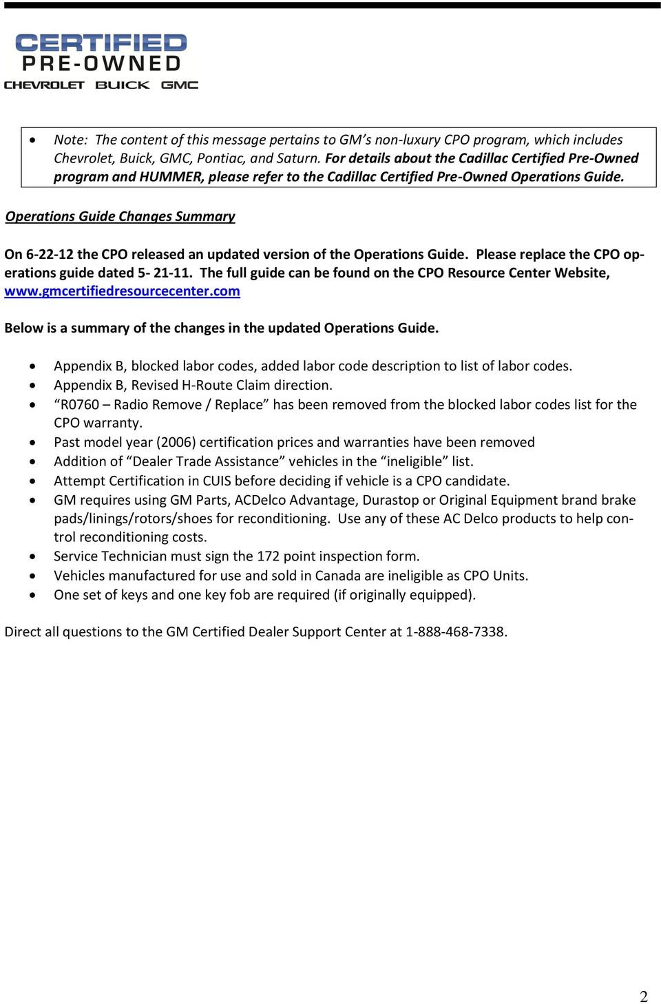 Operations Guide Changes Summary On 6 22 12 The CPO Released An Updated  Version