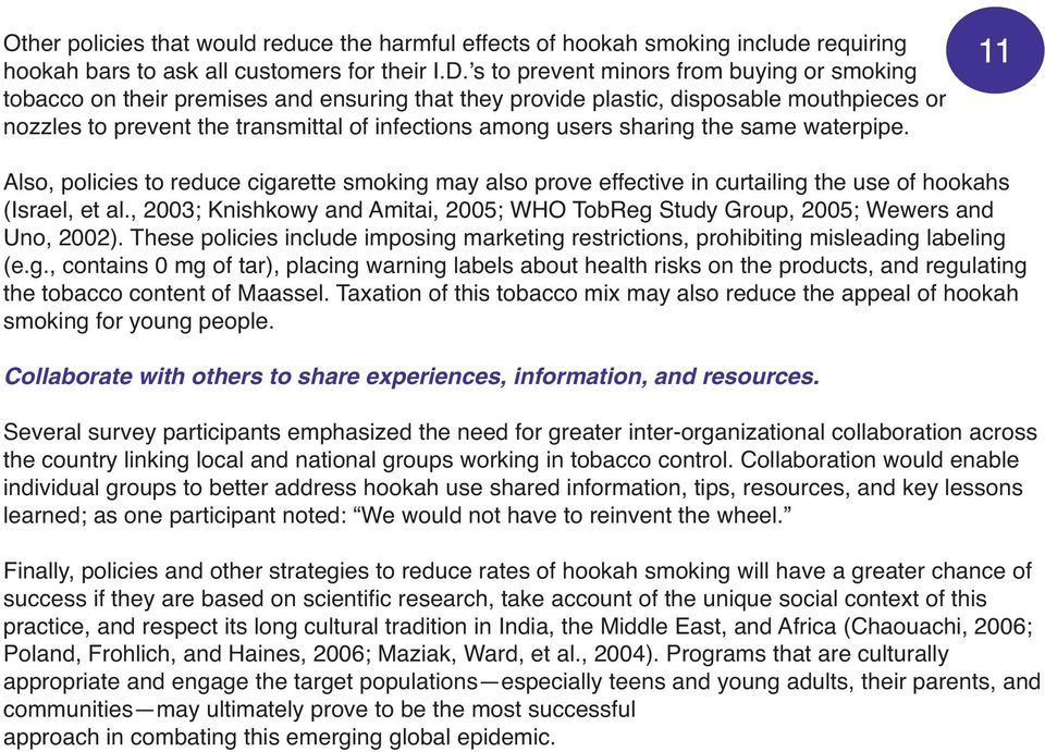 Reducing Hookah Use  A Public Health Challenge For the 21st
