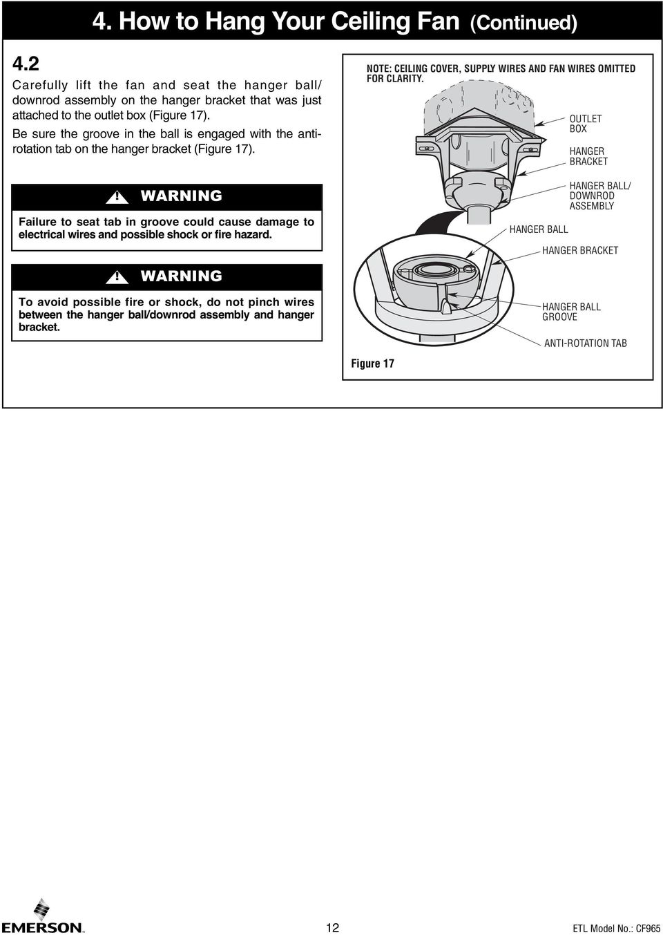 Read And Save These Instructions Portland 54 Ceiling Fan Owners Concord Wiring Diagram Be Sure The Groove In Ball Is Engaged With Antirotation Tab On Hanger