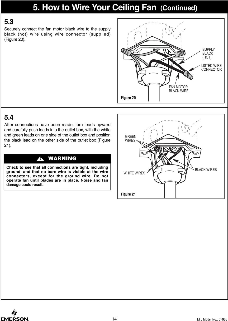 Read And Save These Instructions Portland 54 Ceiling Fan Owners Outlet Wiring Black White Wires Figure 21 14 4 After Connections Have Been Made Turn Leads Upward Carefully Push Into The