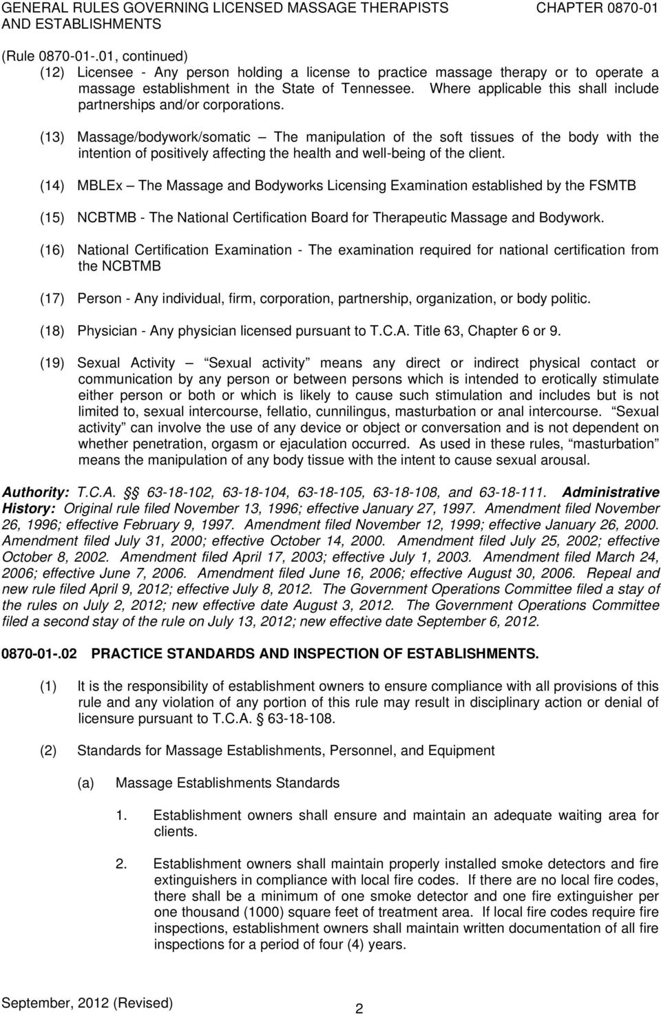Rules Of Tennessee Massage Licensure Board Chapter General Rules