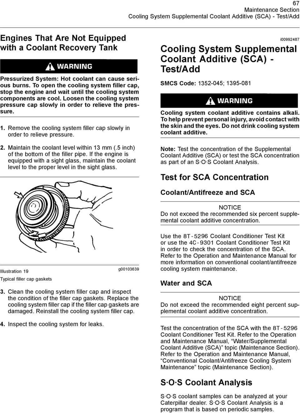 3208 Marine Engine Maintenance Intervals Pdf Sca Wiring Harness Remove The Cooling System Filler Cap Slowly In Order To Relieve Pressure 2 Maintain