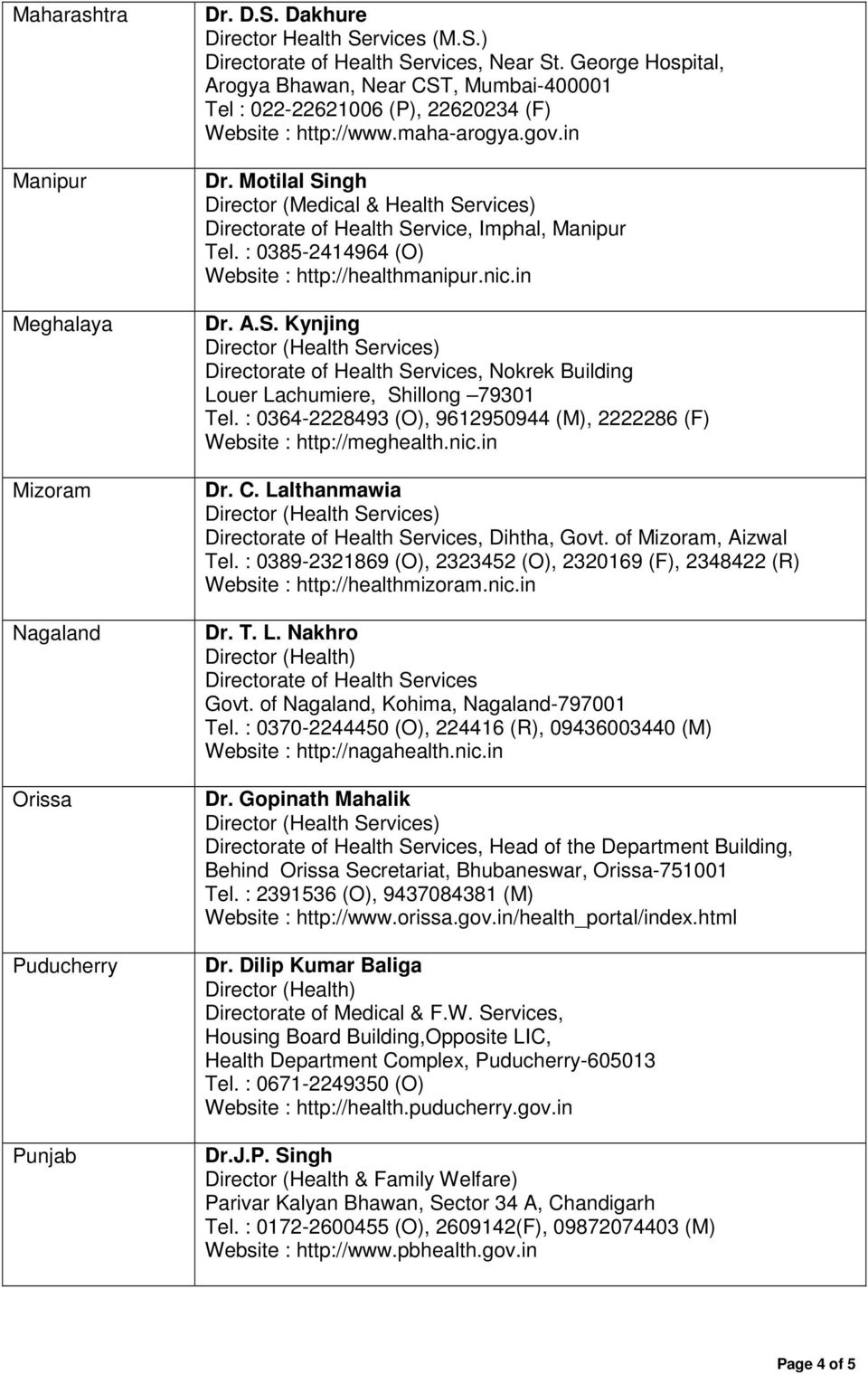 State-wise List of Directors (Health Services) - PDF