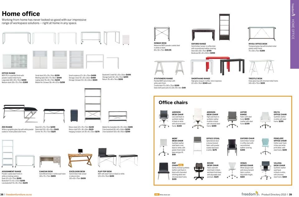 office freedom office desk large 180x90cm white. Desk 160 X 80 75cm $799 Bookcase 41 202cm $999 RIVOLI OFFICE Office Freedom Desk Large 180x90cm White A