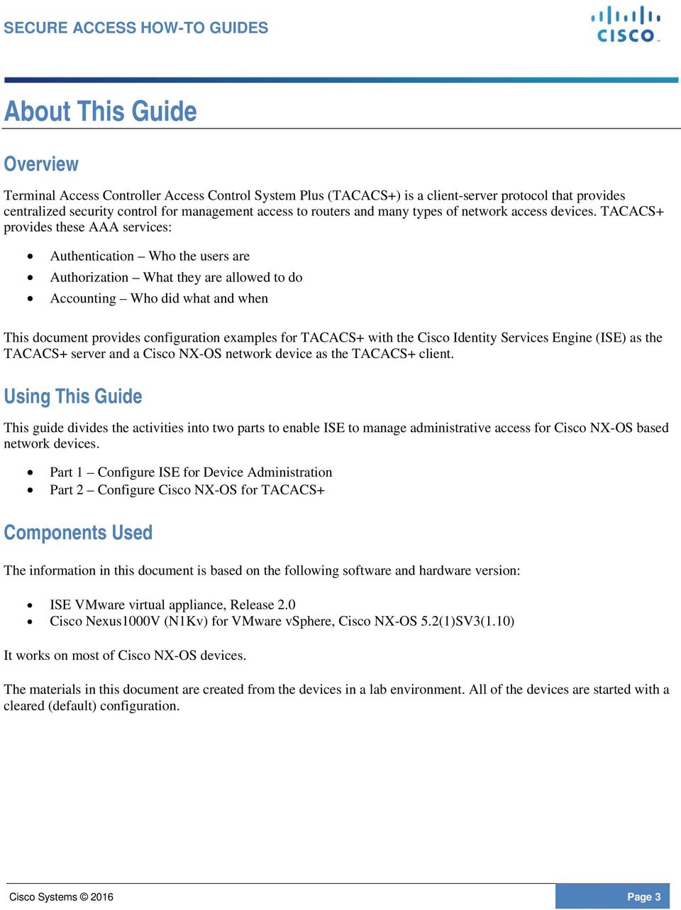 ISE TACACS+ Configuration Guide for Cisco NX-OS Based Network