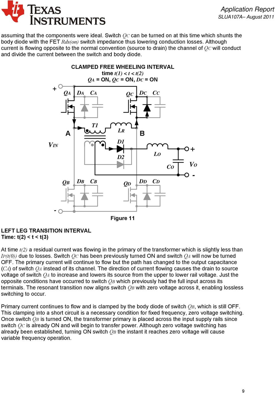 Phase Shifted Full Bridge Zero Voltage Transition Design Schematics Of Delabs Isolated Dual Power Supply From 5v Qa Clamped Fee Wheeling Inteval Time T