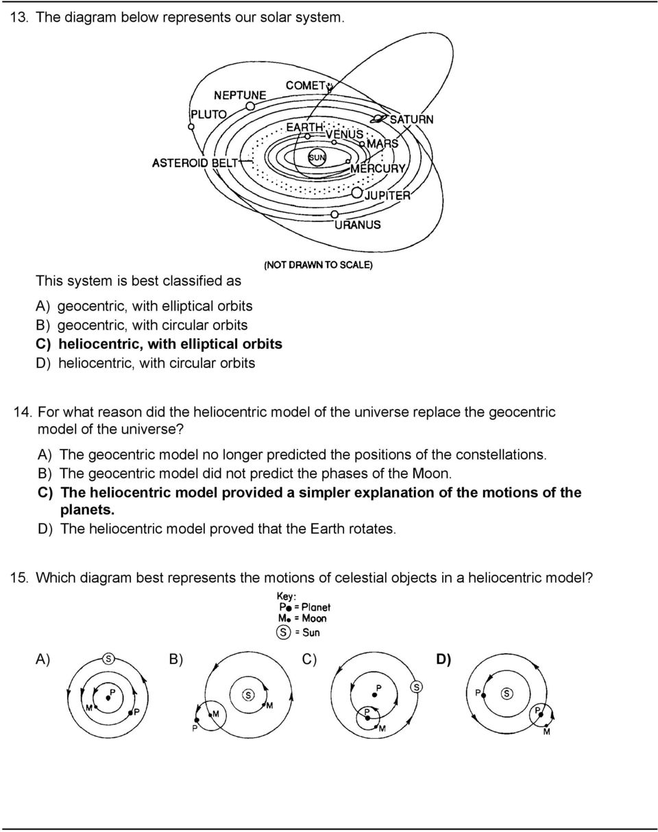 Solar system 1 the diagram below represents a simple geocentric for what reason did the heliocentric model of the universe replace the geocentric ccuart Images