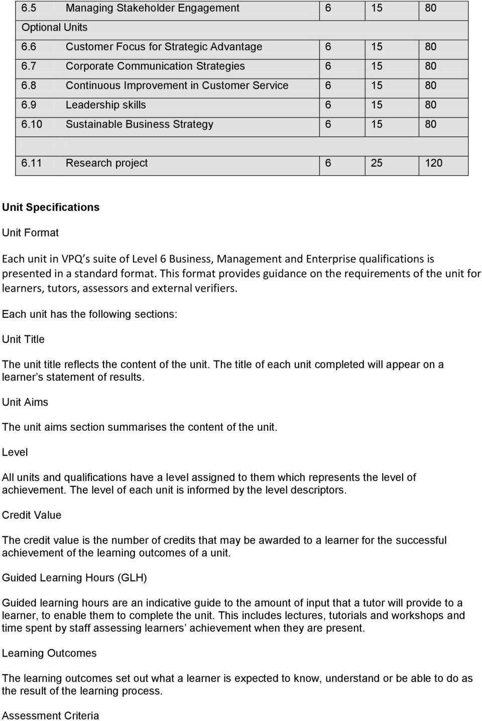 11 Research project 6 25 120 Unit Specifications Unit Format Each unit in VPQ s suite of Level 6 Business, Management and Enterprise qualifications is presented in a standard format.