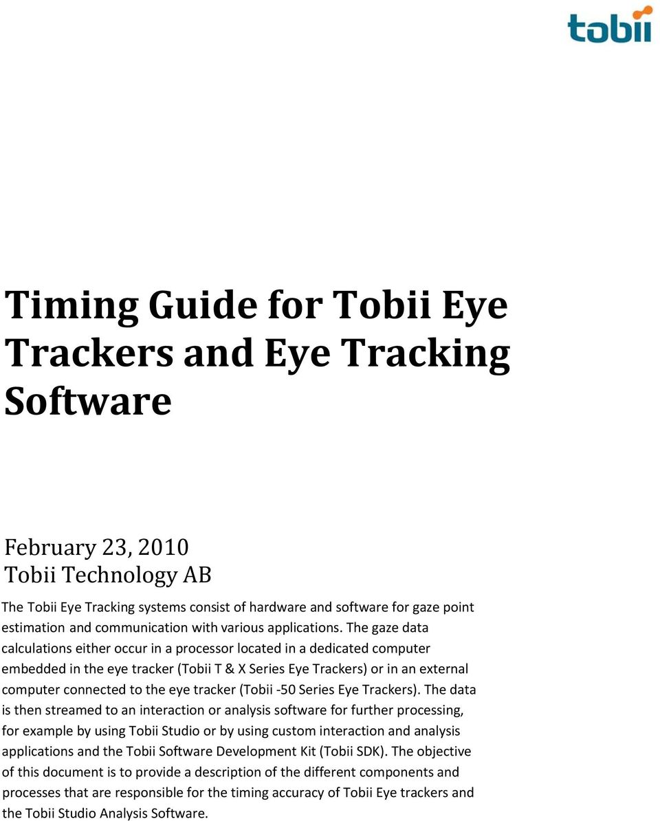 Timing Guide for Tobii Eye Trackers and Eye Tracking Software - PDF