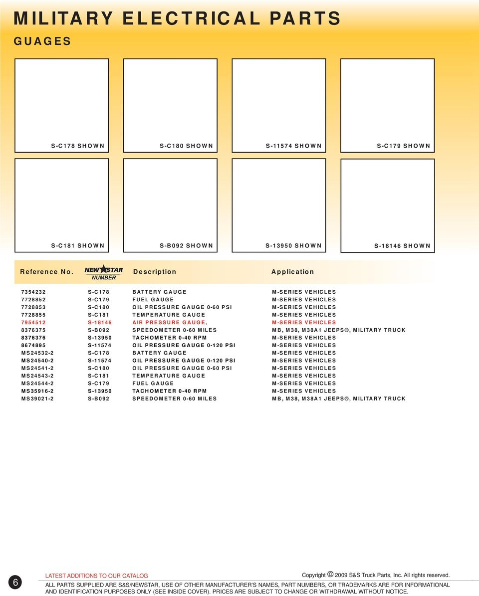 Copyright 2009 Ss Truck Parts Inc All Rights Reserved Pdf M38a1 Trailer Wiring Diagram For Receptacle Vehicles 8376375 S B092 Speedometer 0 60 Miles Mb M38 Jeeps