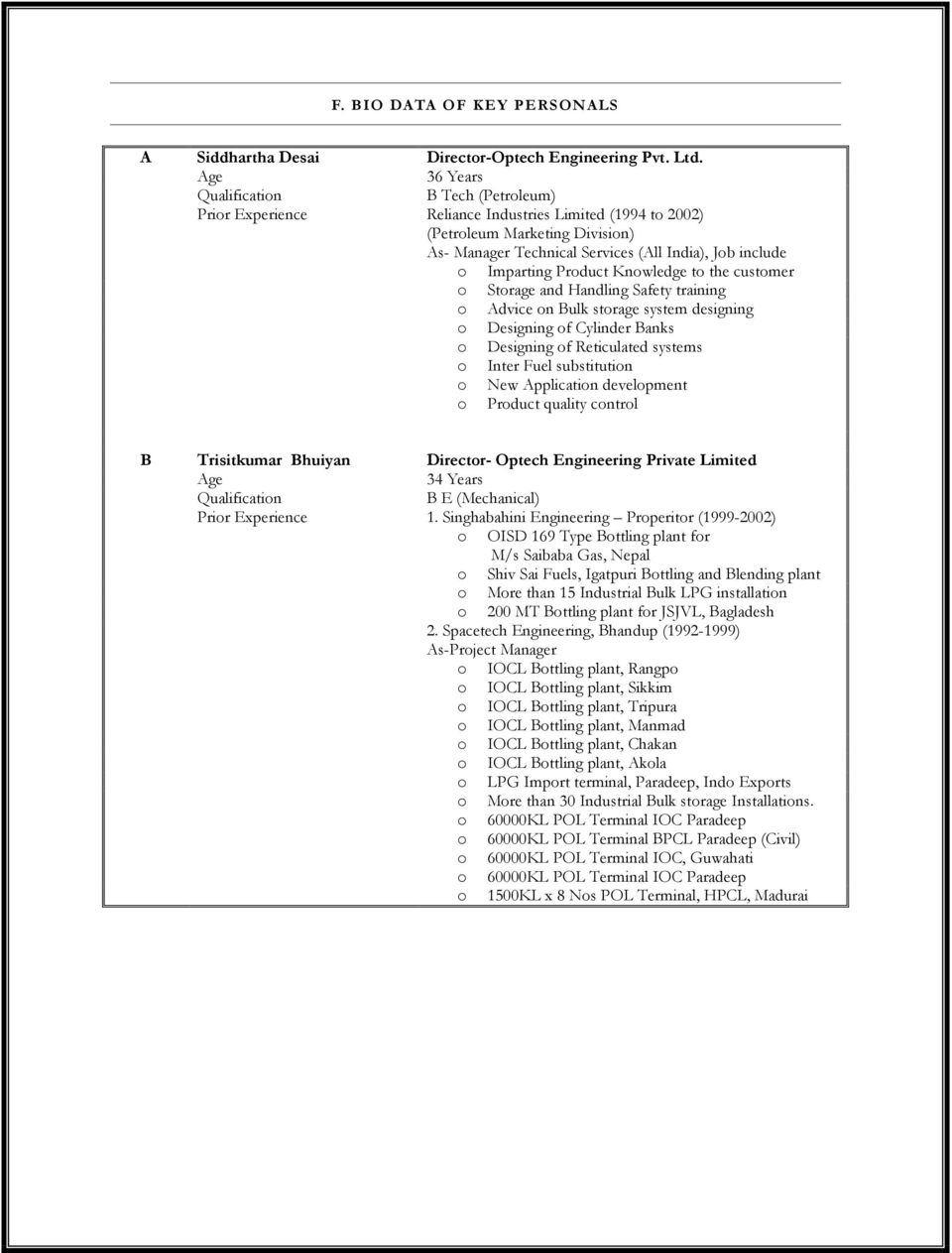 OPTECH ENGINEERING PRIVATE LIMITED A COMPANY PROFILE ALL TYPES OF