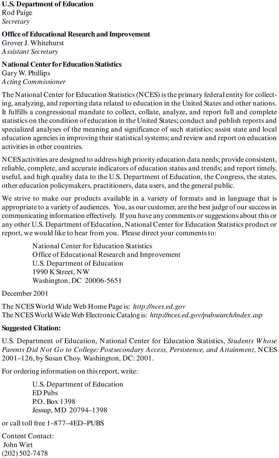 NATIONAL CENTER FOR EDUCATION STATISTICS U S  Department of