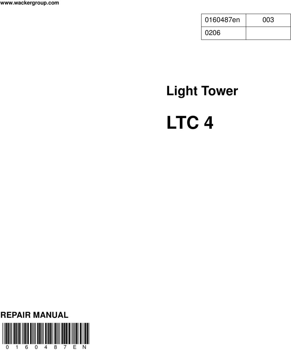 Wacker Light Tower Manual