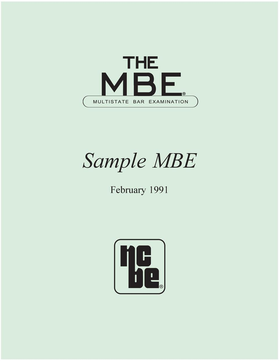 SampleMBE_reprint2010 qxp 1/29/ :00 AM Page 1 Sample MBE