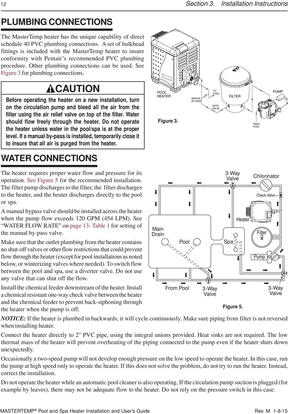 Mastertemp Pool And Spa Heater Installation User S Guide Pdf Circulation Pump Wiring Diagram See Figure 3 For Plumbing Connections