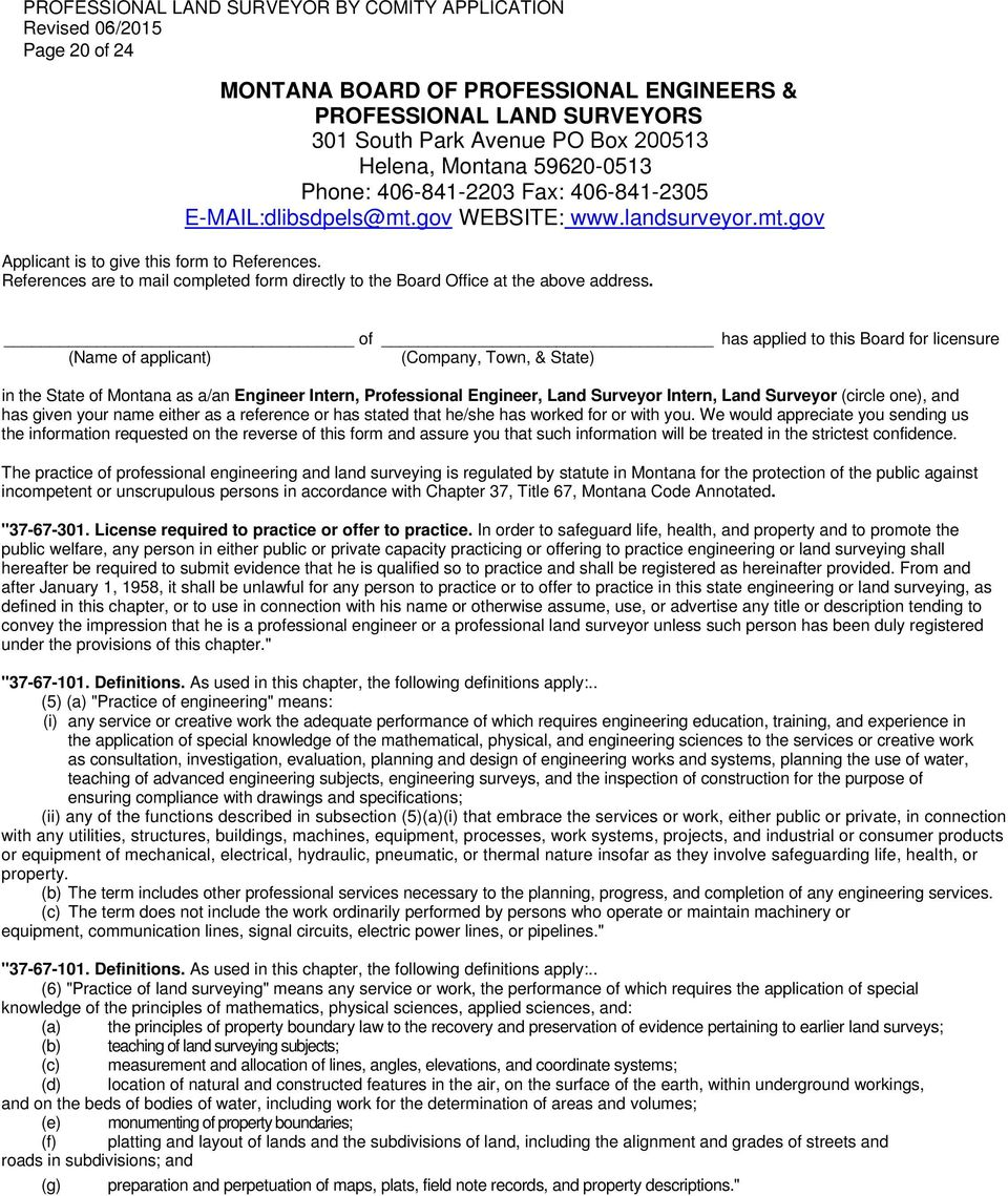 MONTANA BOARD OF PROFESSIONAL ENGINEERS AND PROFESSIONAL LAND ...