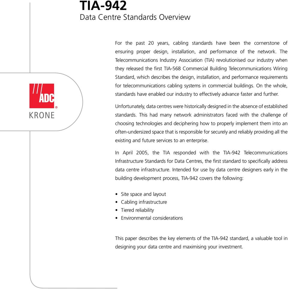 Tia 942 Data Centre Standards Overview White Paper Pdf Network Wiring Installation And Performance Requirements For Telecommunications Cabling Systems In Commercial Buildings On The Whole