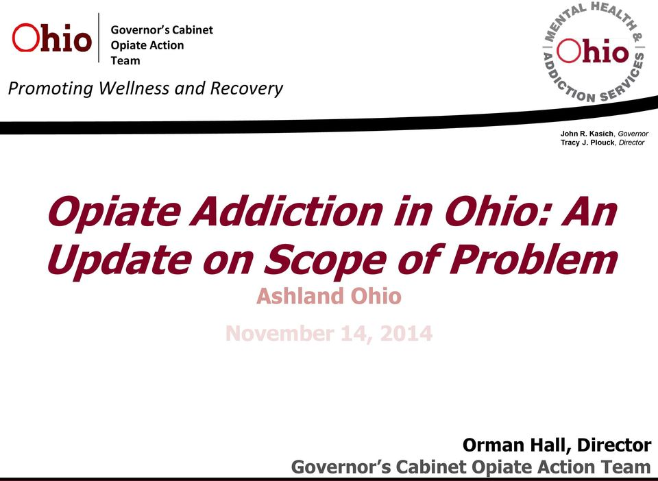 Plouck, Director Opiate Addiction in Ohio: An Update on Scope of