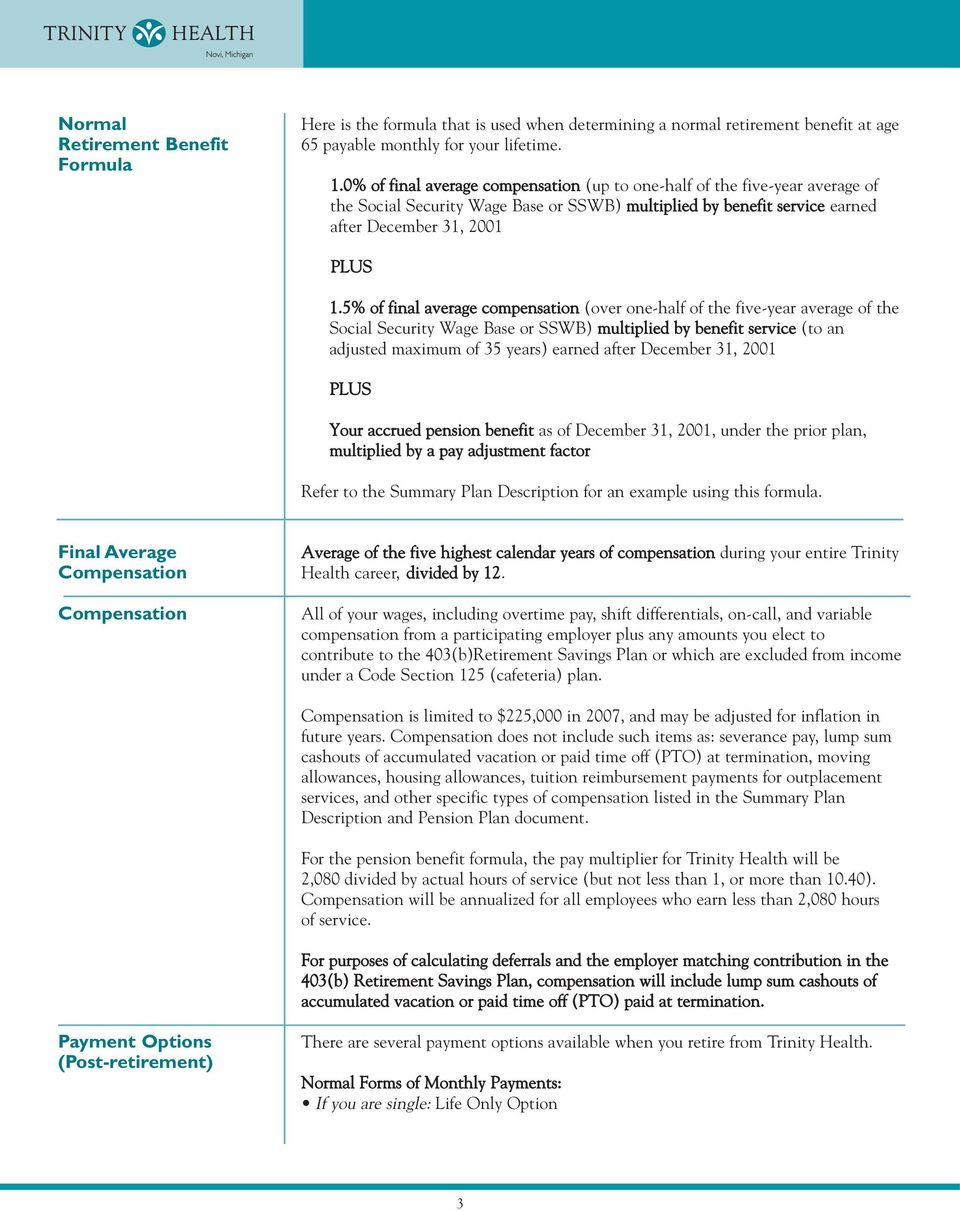 Plan Highlights Guide To Understanding Your Trinity Health