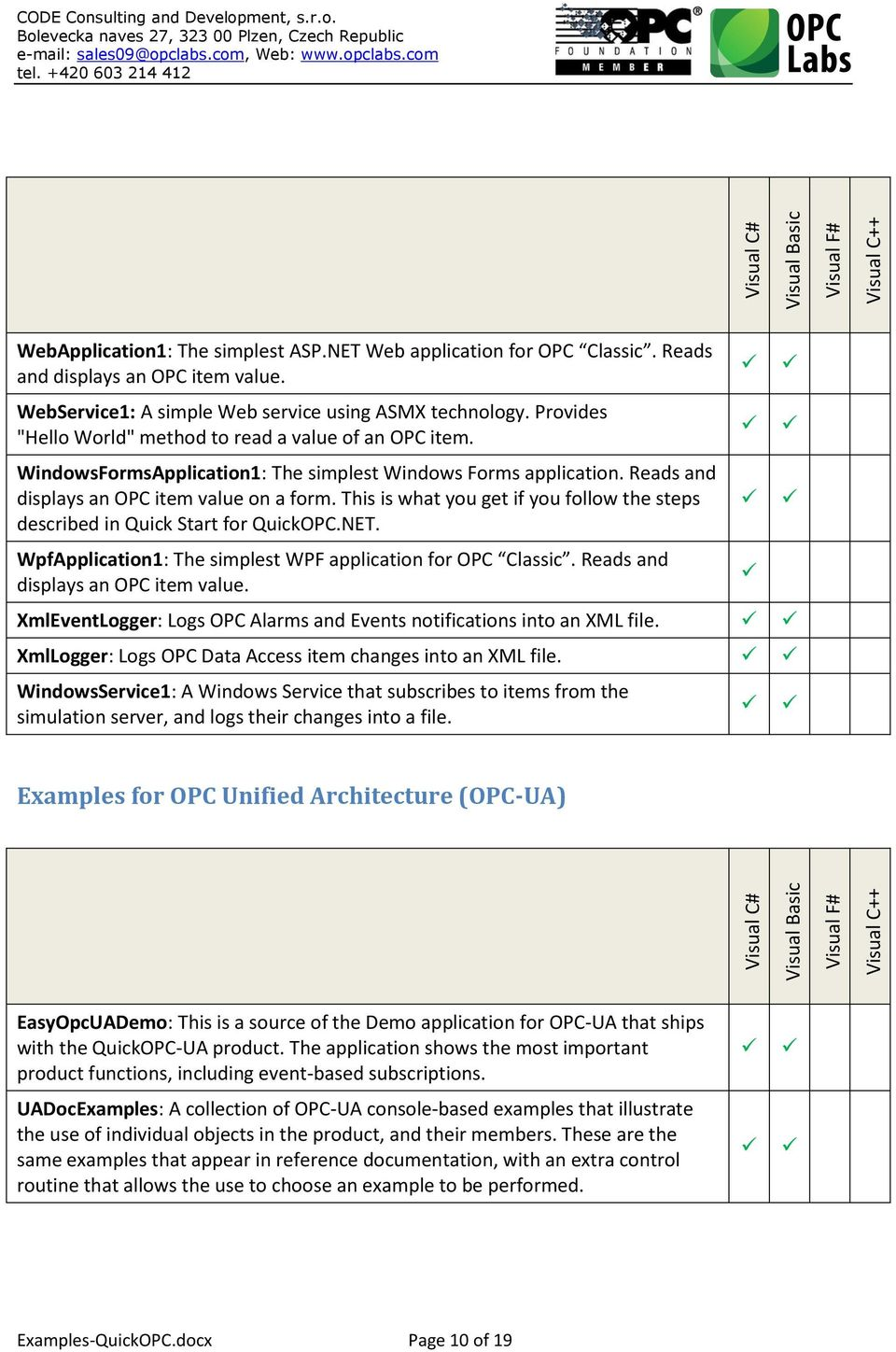 QuickOPC Examples  Examples-QuickOPC docx Page 1 of 19 - PDF