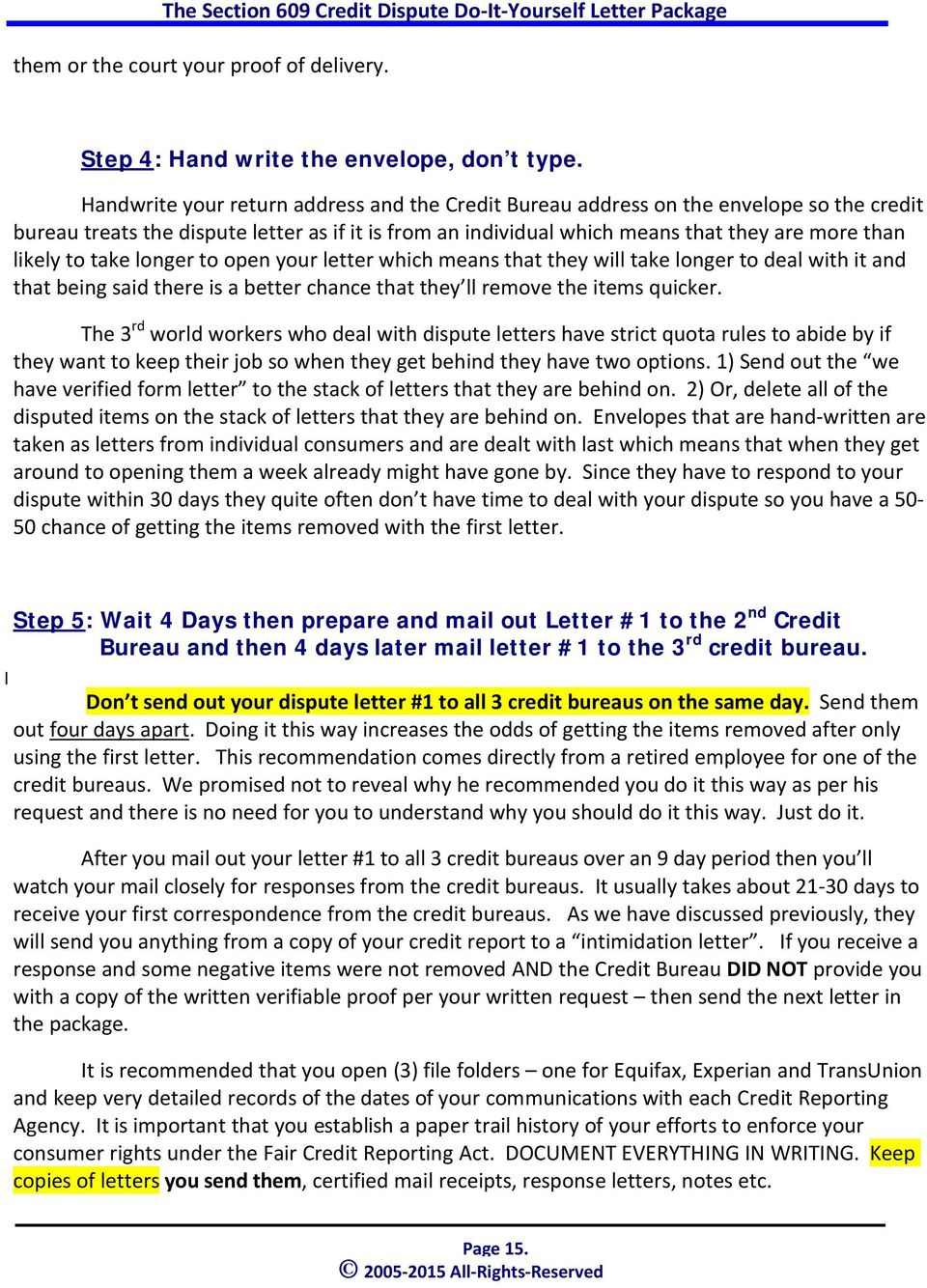 The Section  Credit Dispute DoItYourself Letter Package  Pdf