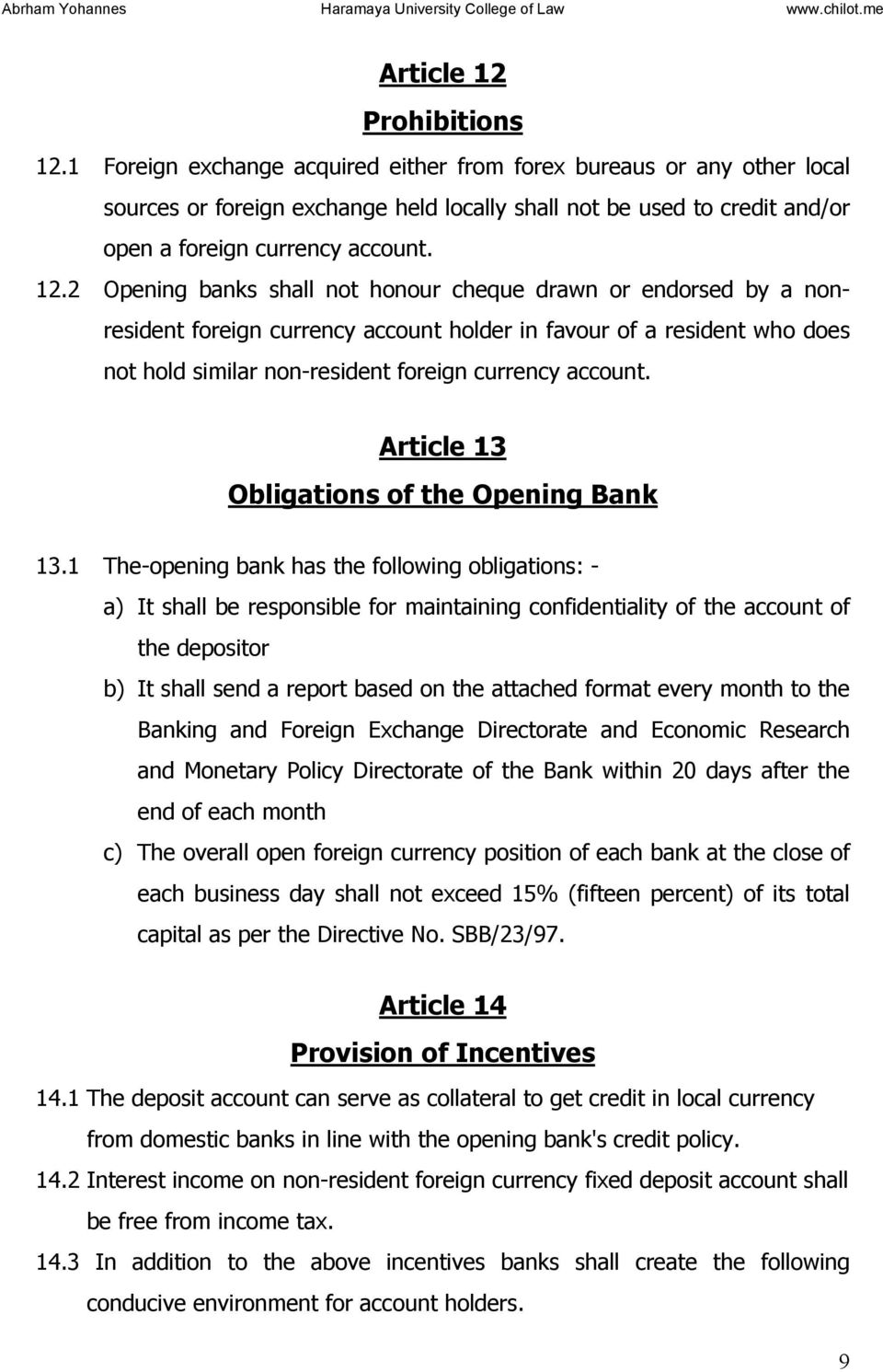 CONSOLIDATED NATIONAL BANK of ETHIOPIA DIRECTIVES