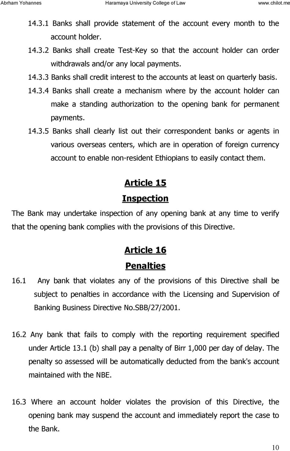 CONSOLIDATED NATIONAL BANK of ETHIOPIA DIRECTIVES  Consolidated