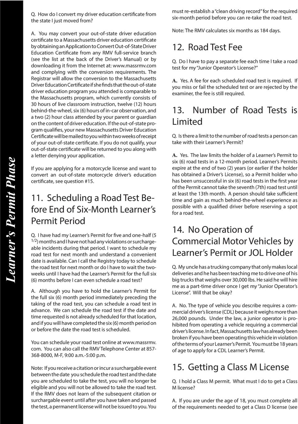 FAQs About Learner s Permits & Junior Operator Licenses  Q & A Index