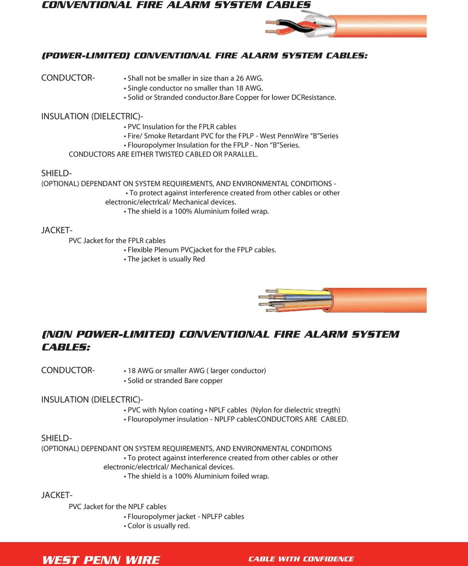 Fire Alarm Cables West Penn Wire Pdf Manufacturing Wiring Diagrams Insulation Dielectric For The Fplr Smoke Retardant Fplp
