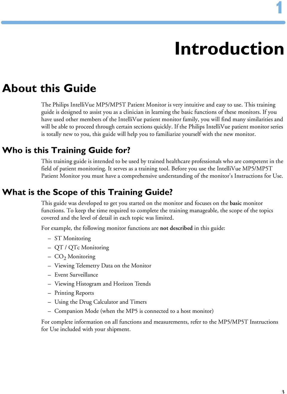 IntelliVue MP5/MP5T TRAINING GUIDE  IntelliVue Patient