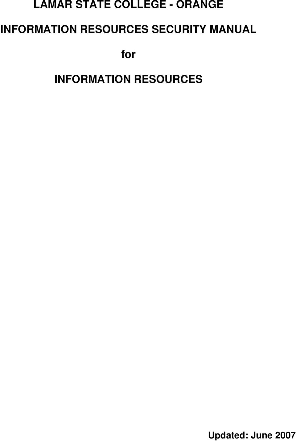RESOURCES SECURITY MANUAL