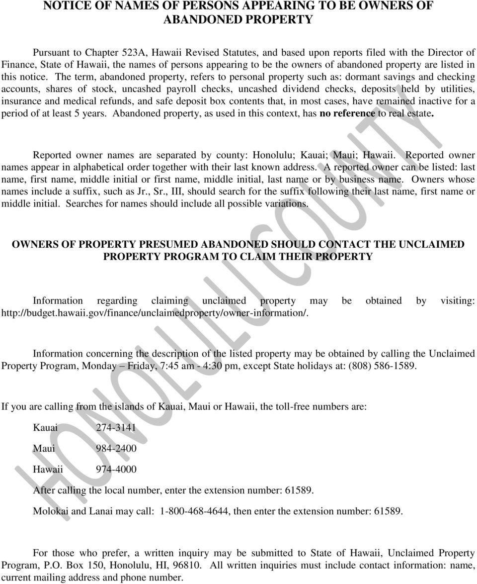 Colorado Unclaimed Property: NOTICE OF NAMES OF PERSONS APPEARING TO BE OWNERS OF