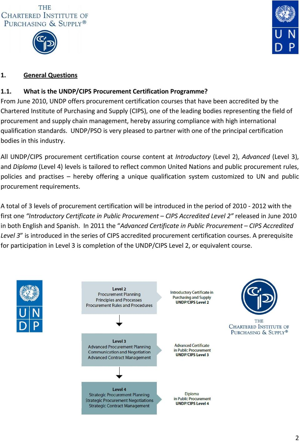 Undpcips Procurement Certification And Training Programme
