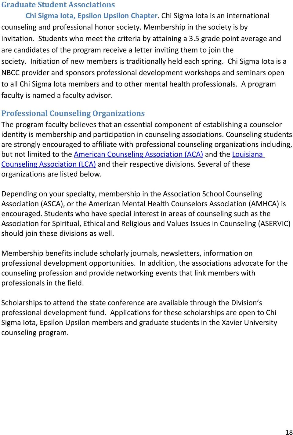 Xavier University Of Louisiana Graduate Student Handbook Counseling