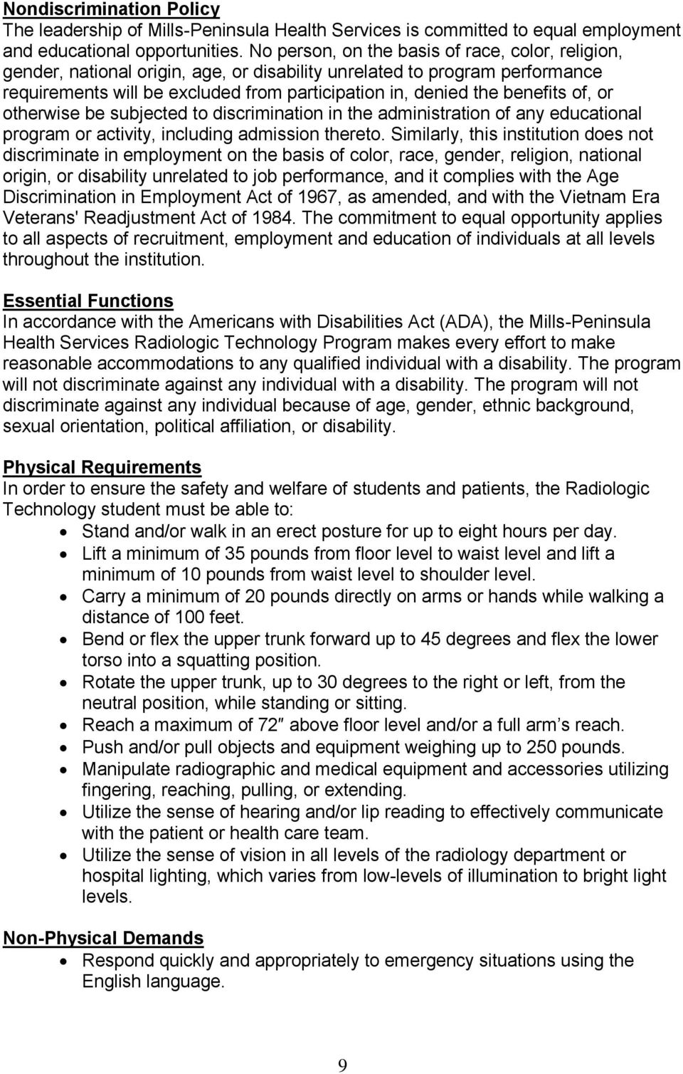 Information Packet  Mills-Peninsula Health Services  School of