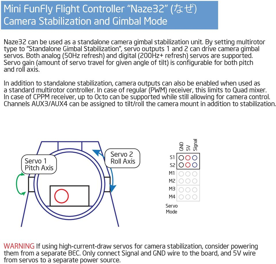 Flight Controller Mini Fun Fly Pdf Multiwii Wiring Diagram Servo Gain Amount Of Travel For Given Angle Tilt Is Configurable 7 Funfly
