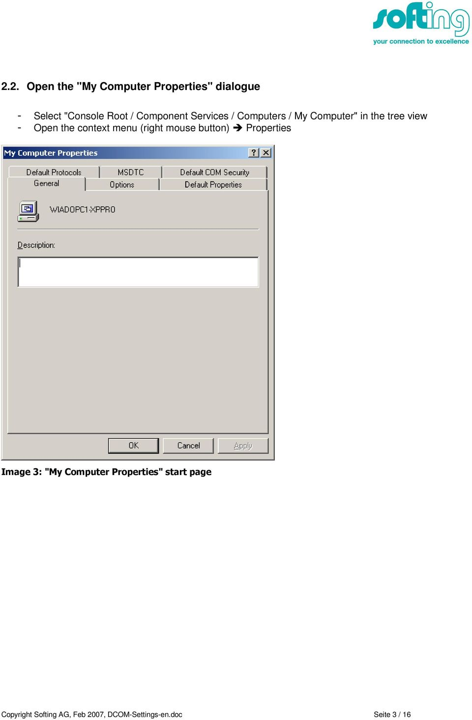 DCOM settings for computer-to-computer communication between