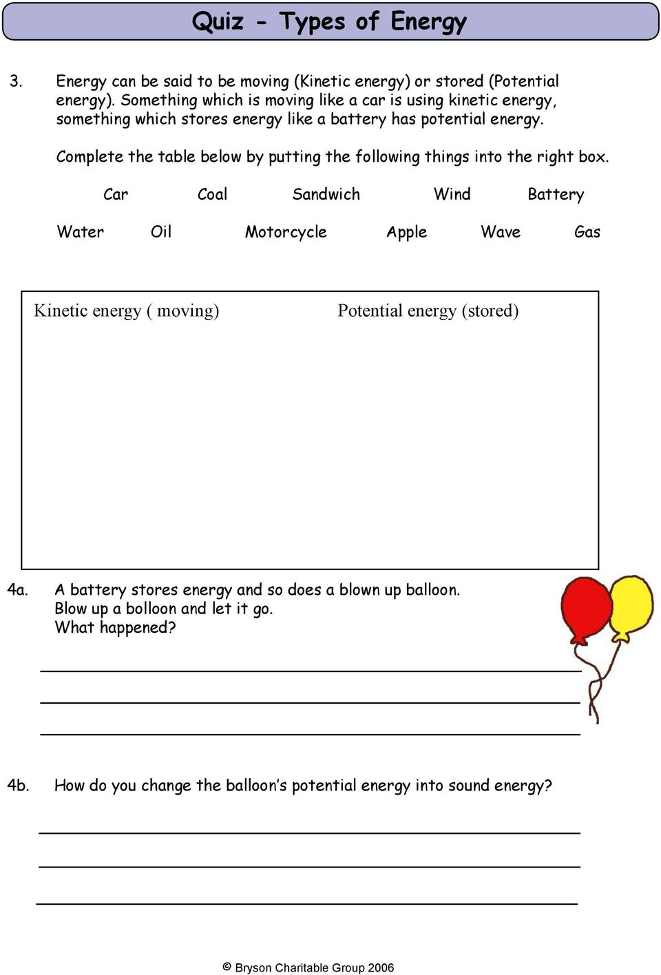 Mission 1 What Is Energy Pdf Bike Wiring Diagram Complete The Table Below By Putting Following Things Into Right Box