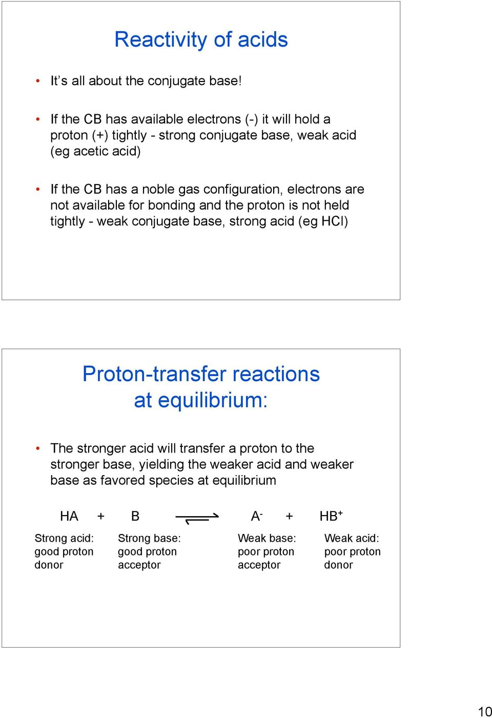electrons are not available for bonding and the proton is not held tightly - weak conjugate base, strong acid (eg HCl) Proton-transfer reactions at equilibrium: The