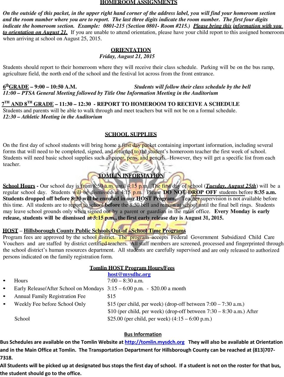 TOMLIN MIDDLE SCHOOL TIGER INFORMATION - PDF