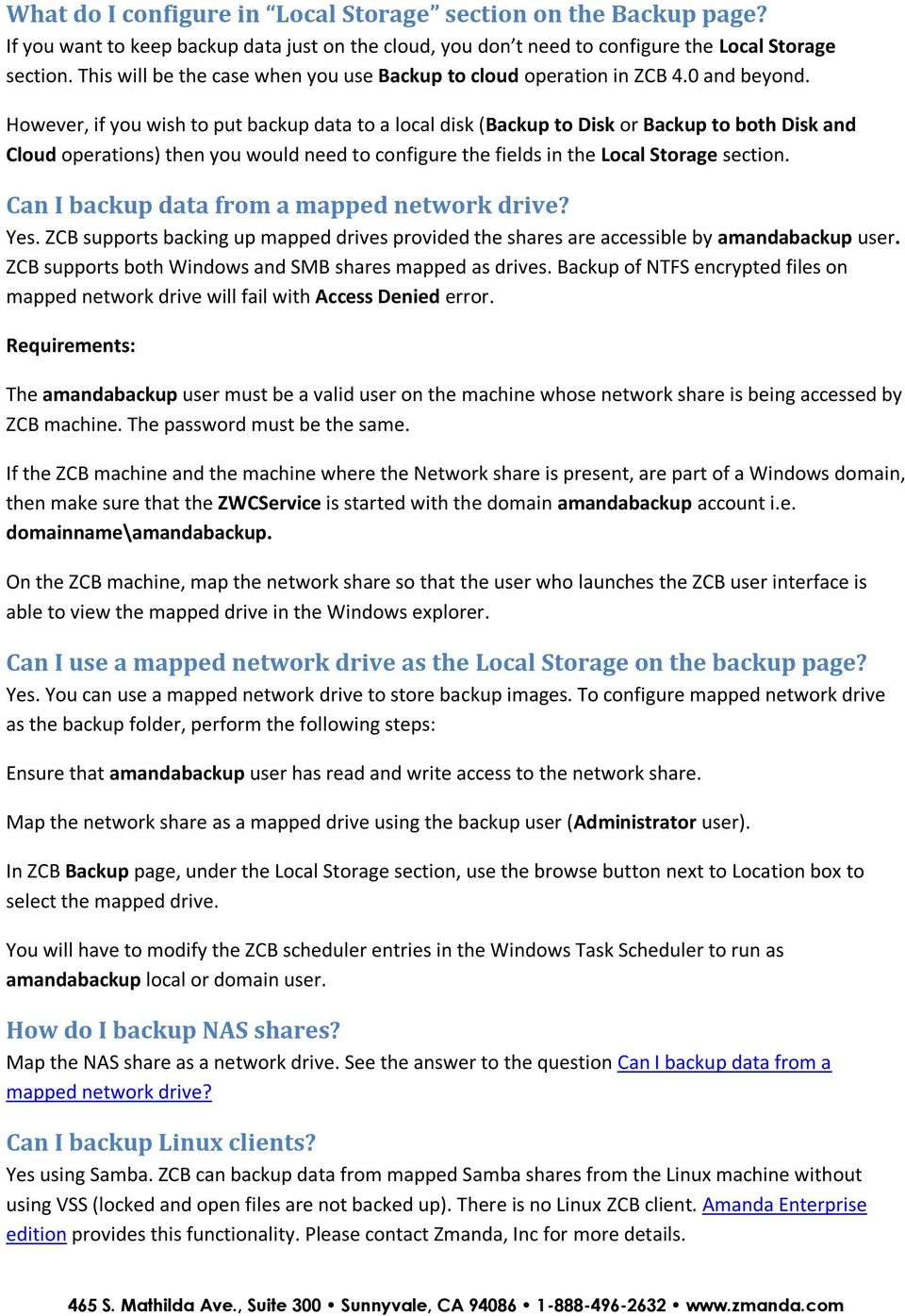 Zmanda Cloud Backup Frequently Asked Questions - PDF