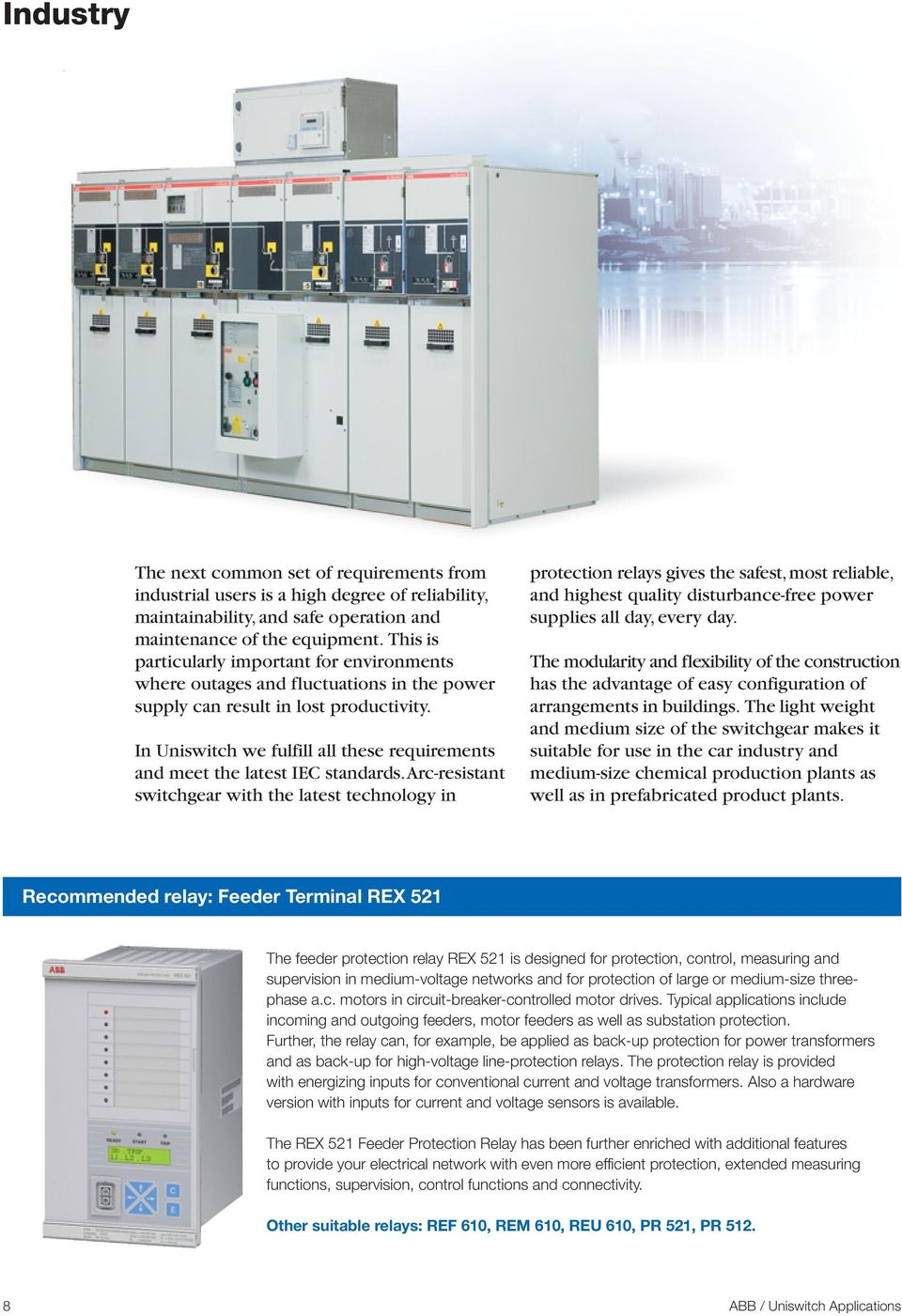 Uniswitch Applications  Air-insulated Medium-Voltage