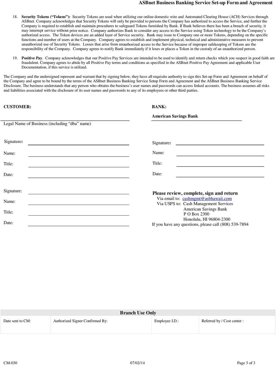 ASBnet Business Banking Service Set-up Form and Agreement - PDF