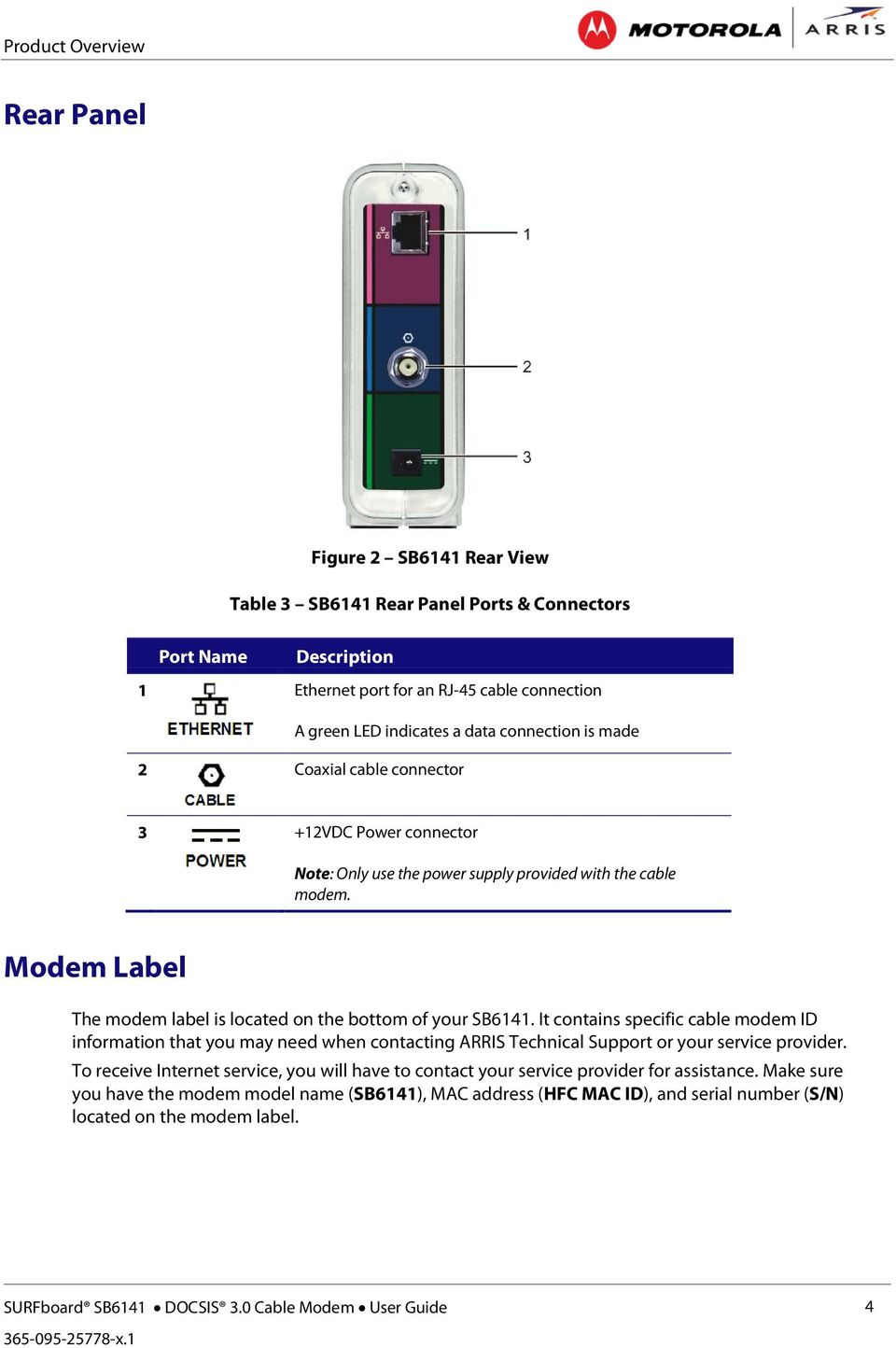 Modem Label The Is Located On Bottom Of Your Sb6141 It Contains