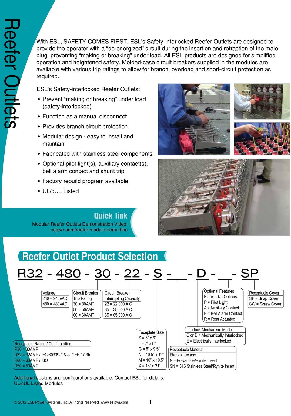 Intermodal Port Terminal Shipboard Railroad Industrial Shore Outlet Wiring Diagram Further 2 Gang Box Additionally All Esl Products Are Designed For Simplified Operation And Heightened Safety 5 Interlocked Reefer Outlets