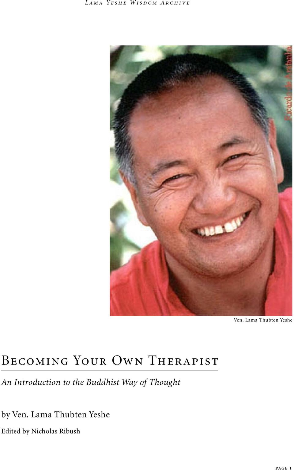 Therapist An Introduction to the Buddhist Way