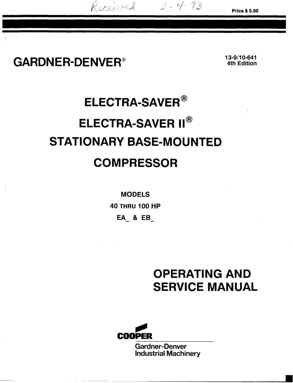 electra saver stationary base mounted compressor operating and rh docplayer net