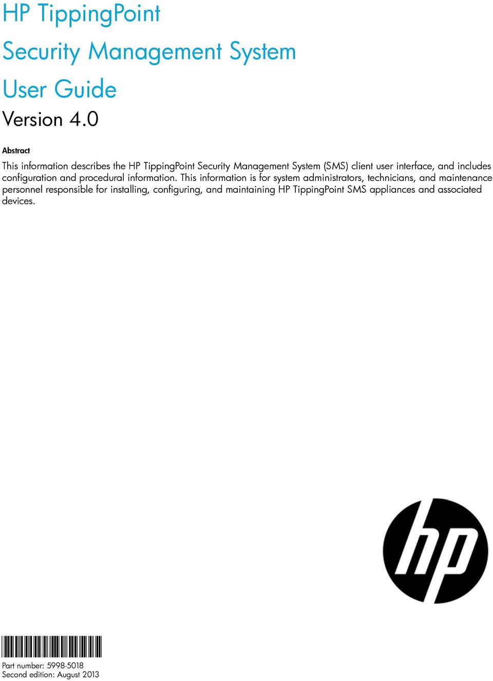 HP TippingPoint Security Management System User Guide - PDF
