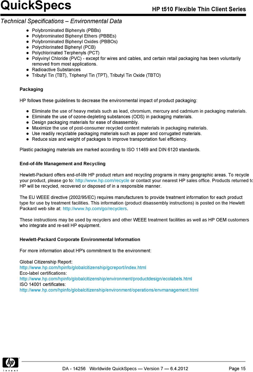 HP t510 Flexible Thin Client Series Overview - PDF