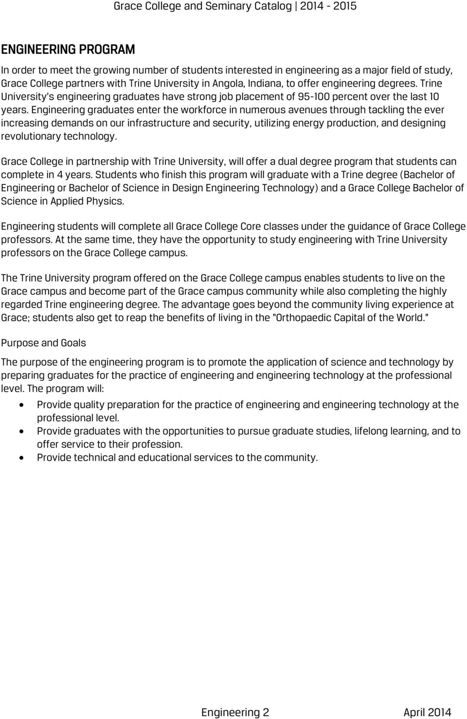 GRACE COLLEGE AND SEMINARY CATALOG Engineering Program in